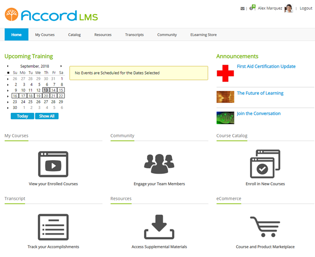 Default Accord LMS Home Page
